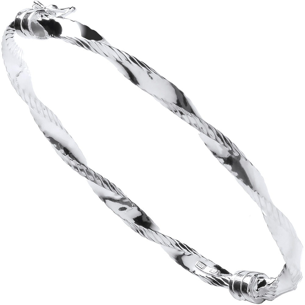 Silver Twisted Ribbed Edge Hollow Bangle