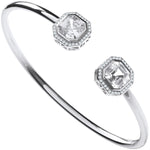 Silver Octagon Cubic Zirconia Torque Hollow Bangle