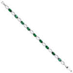 Silver Oval Cut Green & Clear Cubic Zirconias Tennis Bracelet