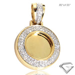 "10K Yellow Gold 0.20ctw Diamond Memorial Pendant - 0.5"" W/O Bail(Picture / Photo Pendants)"