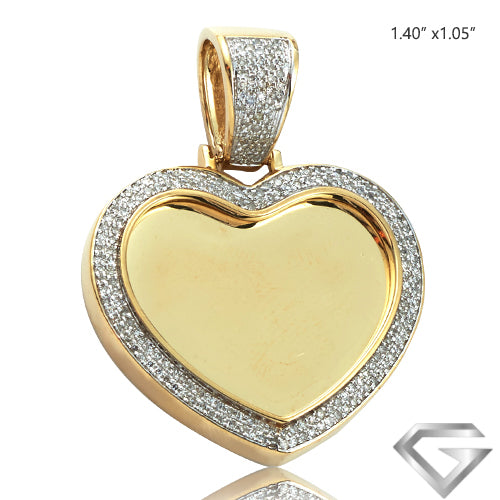 10K Yellow Gold 0.45ctw Diamond Micropave Heart Shaped Memorial Pendant(Picture / Photo Pendants)