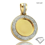 "10K Yellow Gold 0.40ctw Diamond Memorial Pendant - 0.9"" W/O Bail(Picture / Photo Pendants)"