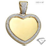 10K Yellow Gold 0.85ctw Diamond Micropave Heart Shaped Memorial Pendant(Picture / Photo Pendants)