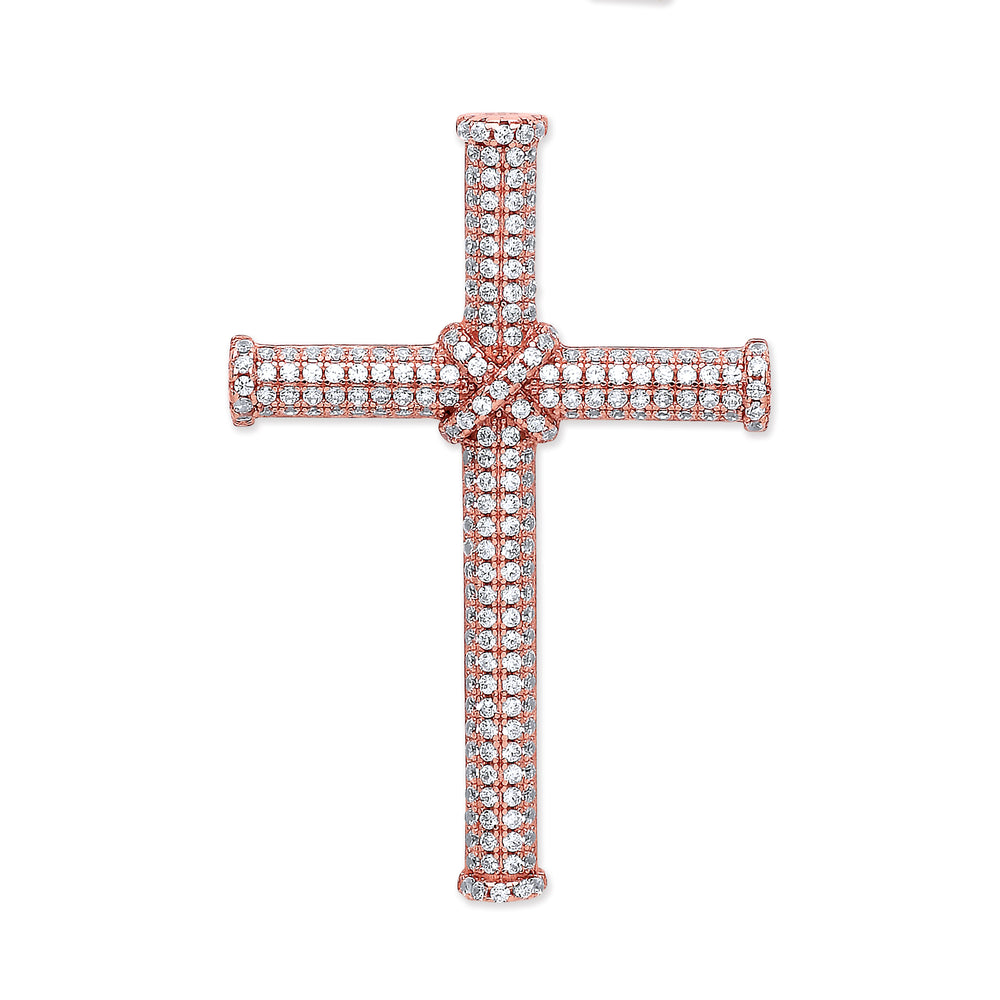 Silver Rose Coated Micro' Pave Cubic Zirconia Cross