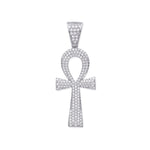 Silver Cubic Zirconia Ankh Cross - Key of Life