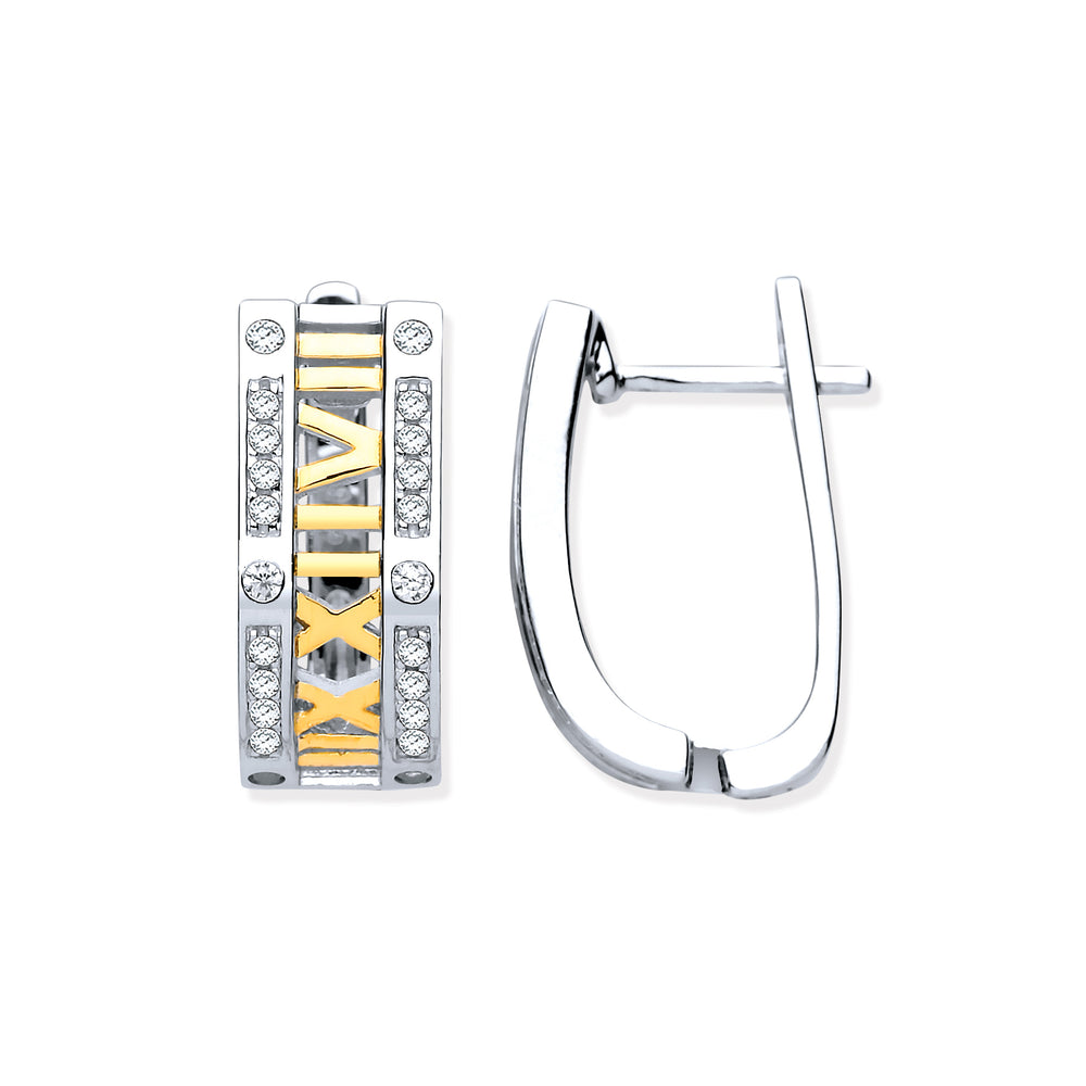 Silver with YG Plated Roman Numeral Hoop Cubic Zirconia Earrings