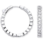 Silver Curbed Chain Link Cubic Zirconia Hoop Earrings