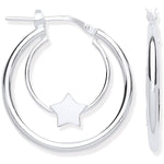 Silver Double Tube Star Hoop Earrings