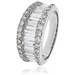 Three Row Round & Baguette Parallel Dress Ring 2.00ct