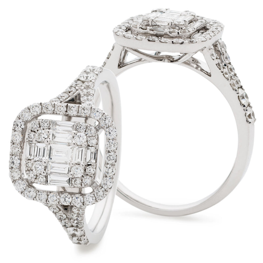 Fancy Cluster Halo Engagement Ring 1.20ct