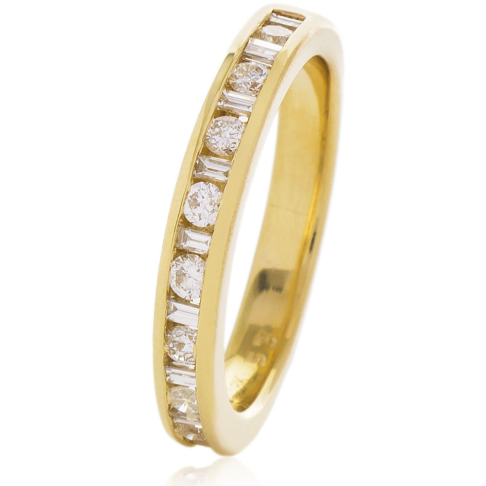 Round & Baguette Half Eternity Ring 0.50ct