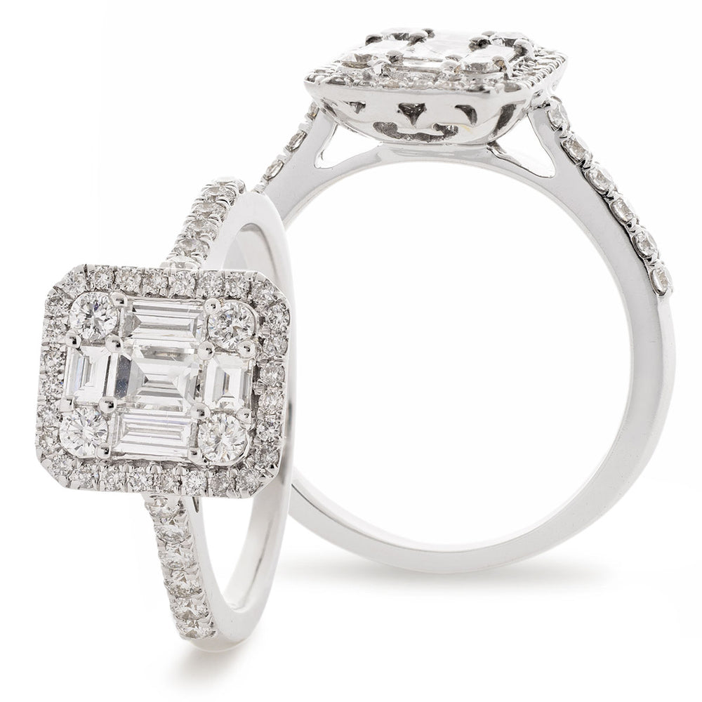 Fancy Cluster Engagement Ring 0.85ct