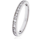 Round & Baguette Half Eternity Ring 0.75ct