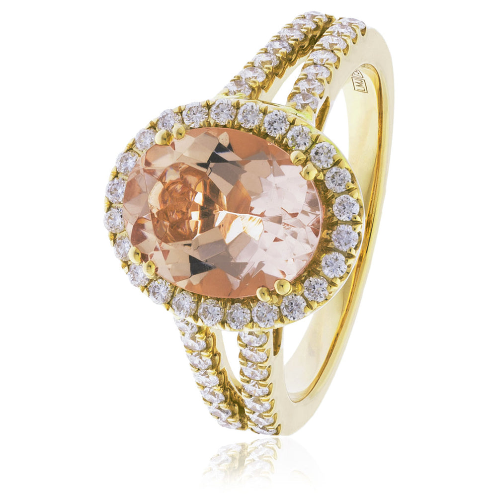 Morganite Diamond Halo Dress Ring 1.00ct