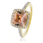 Morganite Diamond Halo Dress Ring 2.30ct