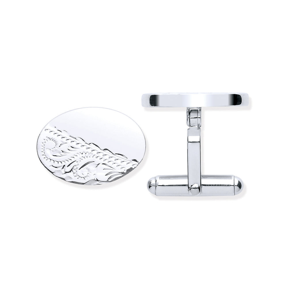 Silver Plain & Engraved Oval Cufflinks