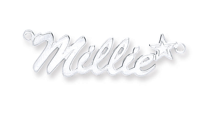 Silver Script Star Name Necklace