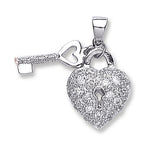 Silver Heart & Key Drop Pendant