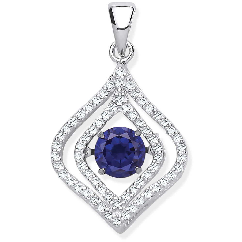 Silver Cubic Zirconia Pendant with Hanging Shimmering Blue Cubic Zirconia