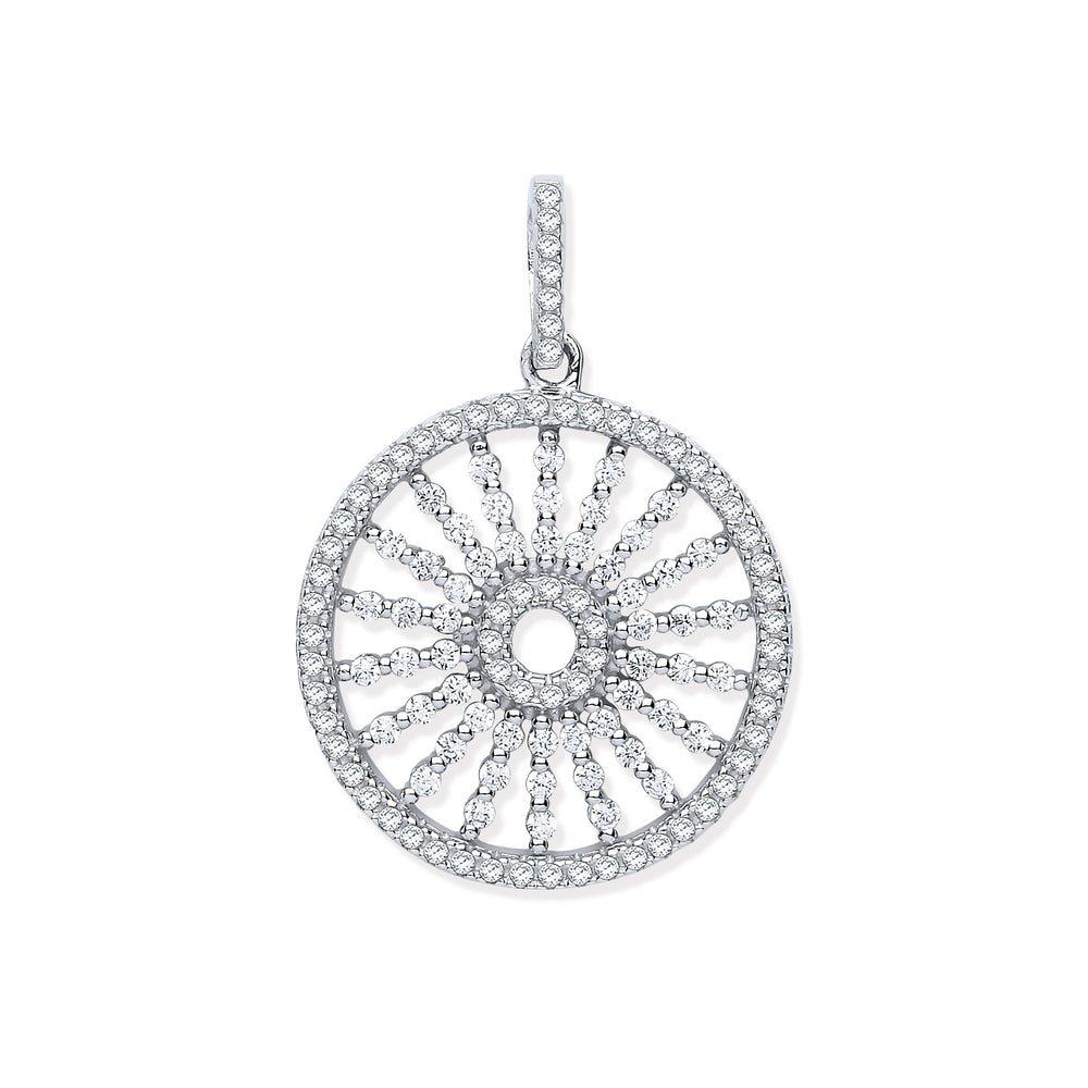 Silver Circle with Burst Lines Cubic Zirconia Pendant