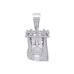 Silver Cubic Zirconia Pendant Jesus with Crown
