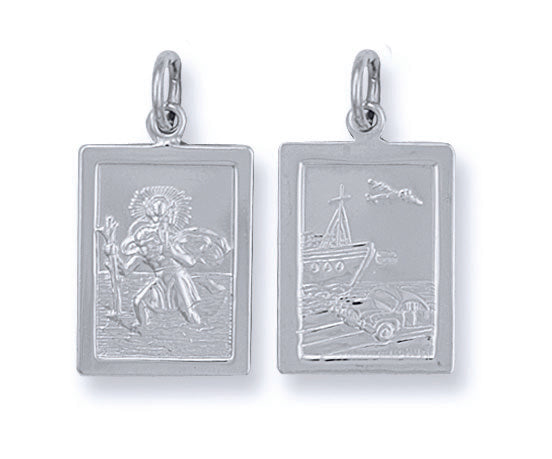 Silver Double Sided Rectangular St Christopher Pendant