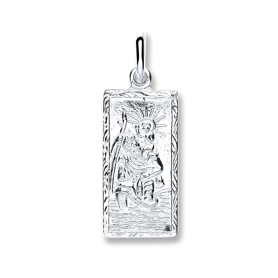 Silver Rectangle St Christopher Plain Back Pendant