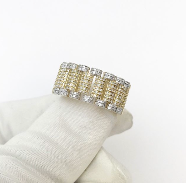 10ct Rolex Inspired Strap Ring 0.58ct