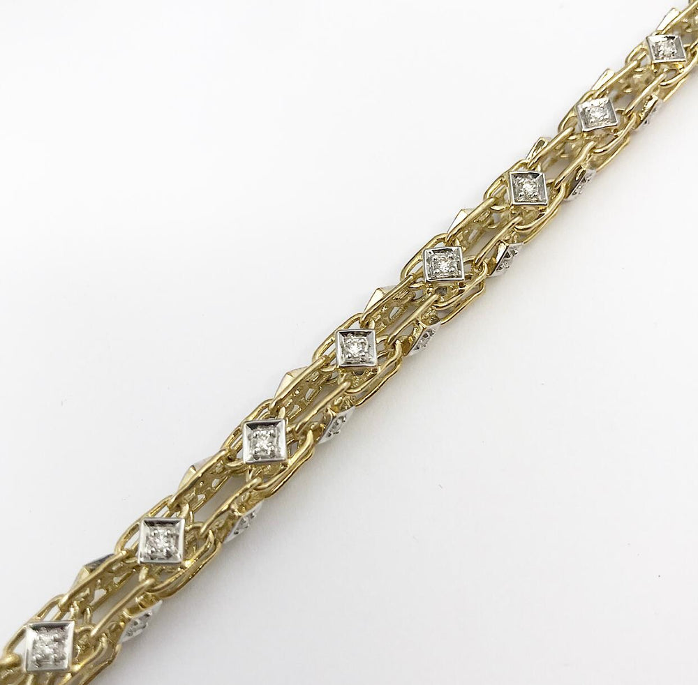 9ct Yellow Gold Fancy Cage Diamond Bracelet (Gauge 1)