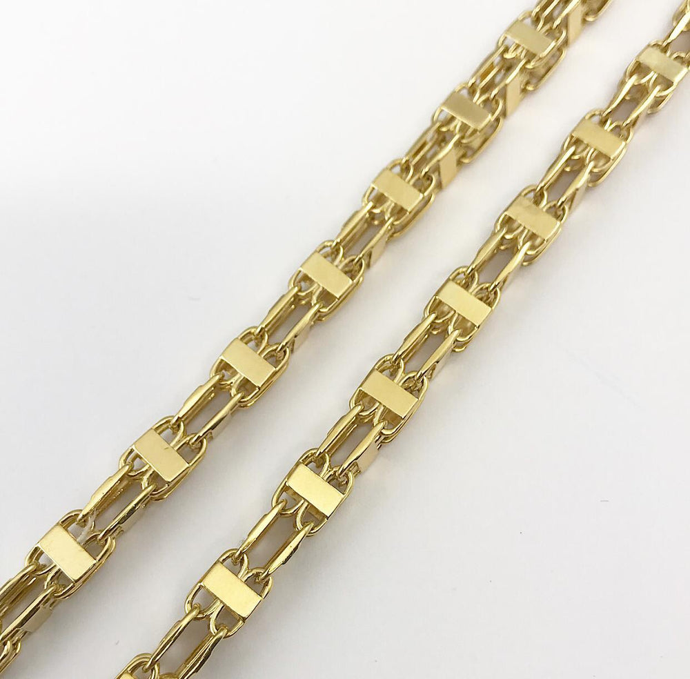 9ct 6.5mm Italian Cage Style Chain / Bracelet (Solid)