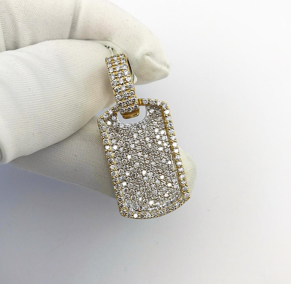 10ct Yellow Gold Diamond Dog Tag Pendant