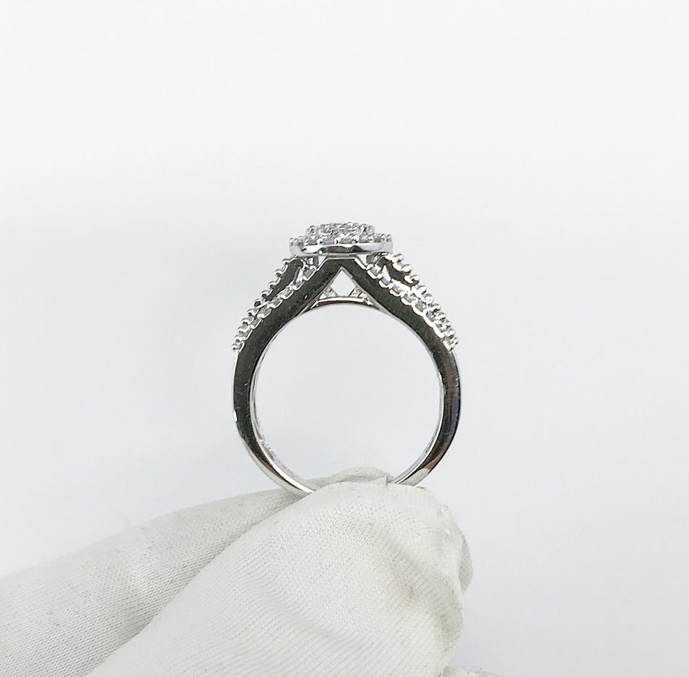 14ct White Gold Clustered Halo Diamond Engagement Ring