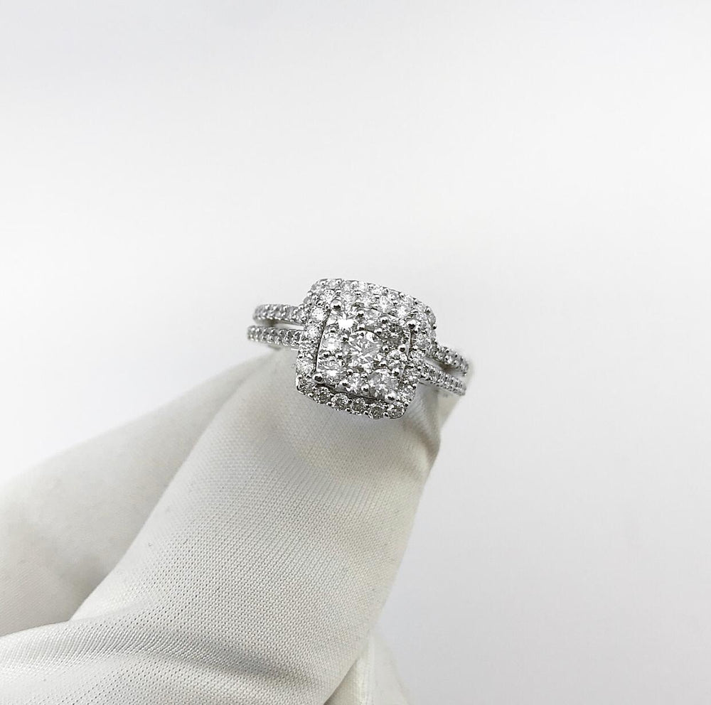 14ct White Gold XL Cushion Shape Halo Cluster Diamond Engagement Ring With Matching Shaped Wedding Band