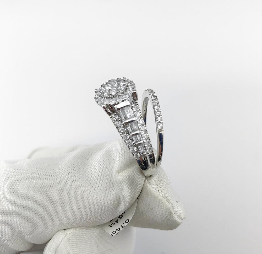 14ct White Gold 2 Tier Halo Diamond Engagement Ring With Matching Band