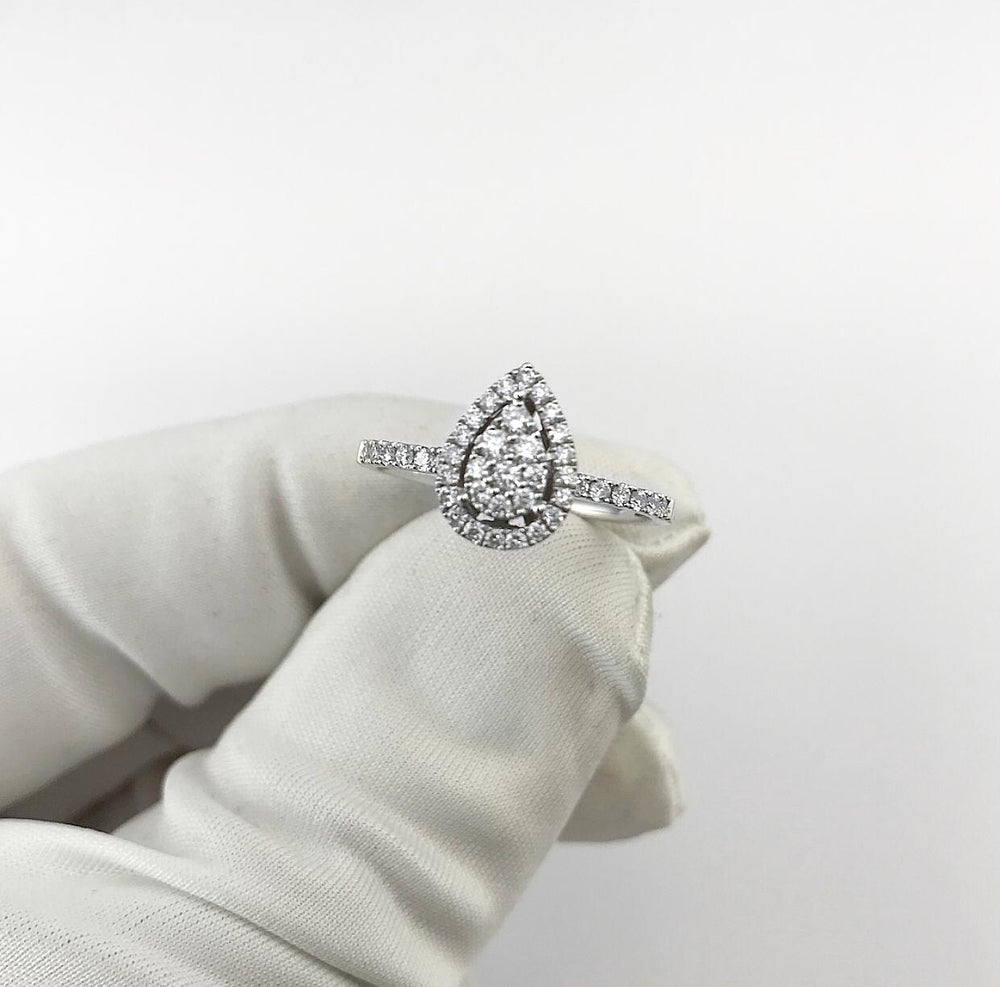 18ct White Gold Pear Shape Halo Cluster Diamond Engagement Ring