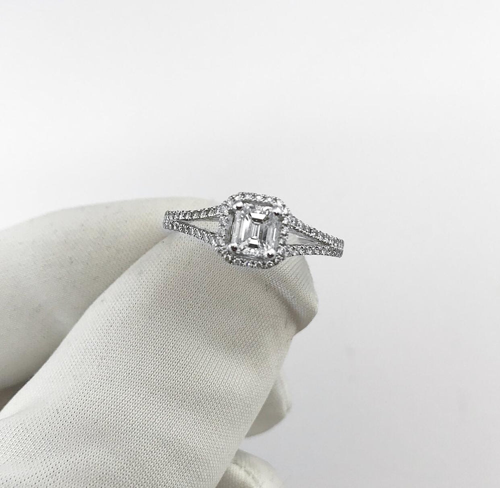 18ct White Gold Split Shank Emerald Cut Diamond Engagement Ring