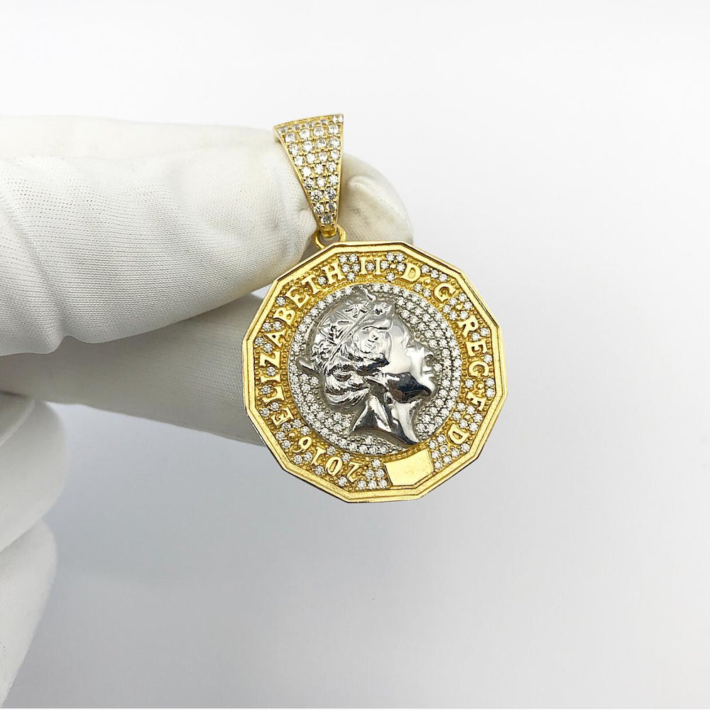 Sterling Silver (18ct gold Plated) Pound Coin Pendant***