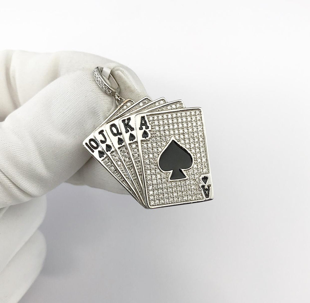 Sterling Silver Flooded Playing Cards Pendant set with Cubic Zirconia***
