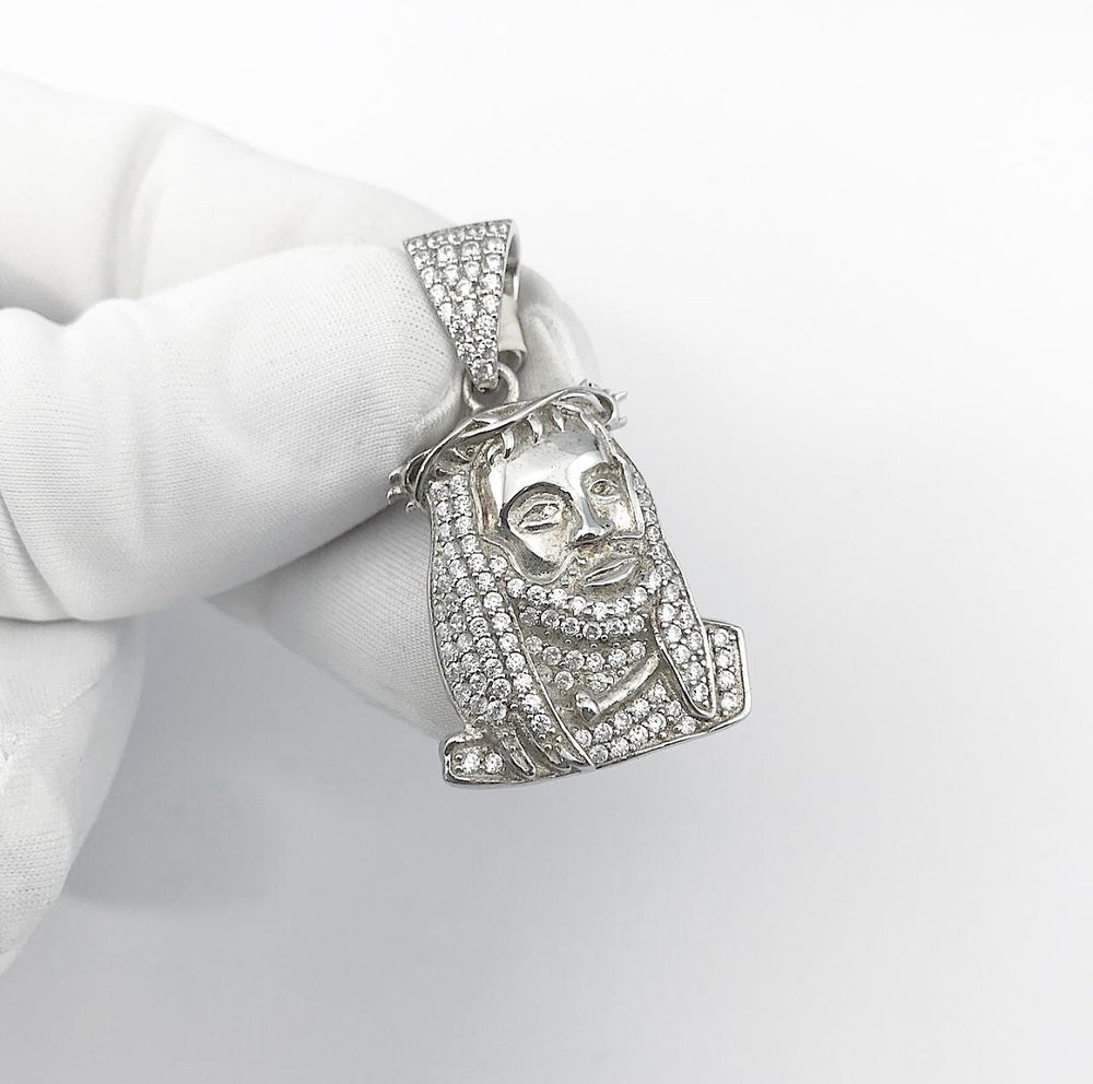 Sterling Silver Micro Jesus Head Pendant set with Cubic Zirconia***