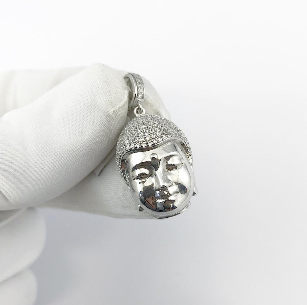 Sterling Silver Buddha Head set with Cubic Zirconia***