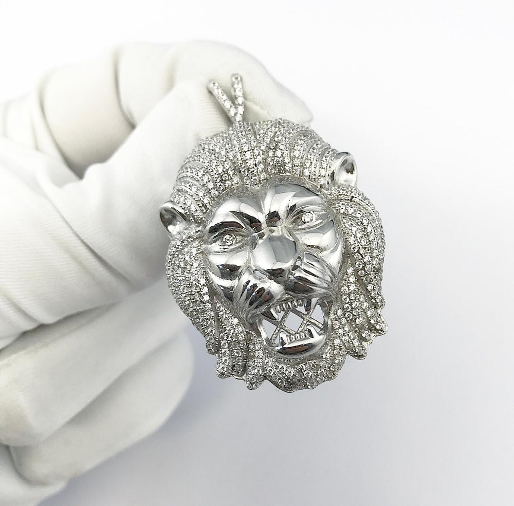 Sterling Silver Lion Head Pendant set with Cubic Zirconia***