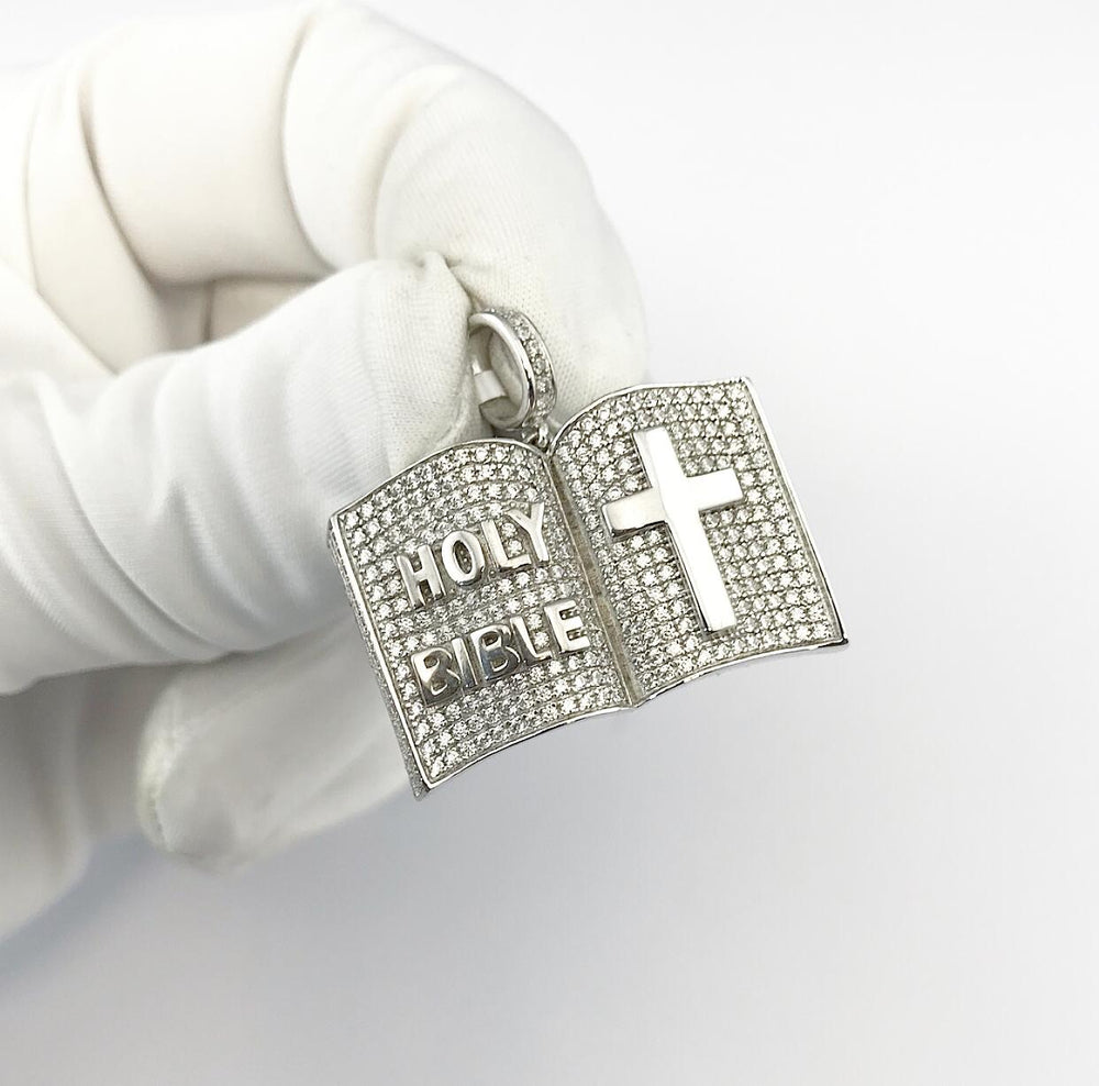 Sterling Silver Holy Bible Pendant set with Cubic Zirconia***