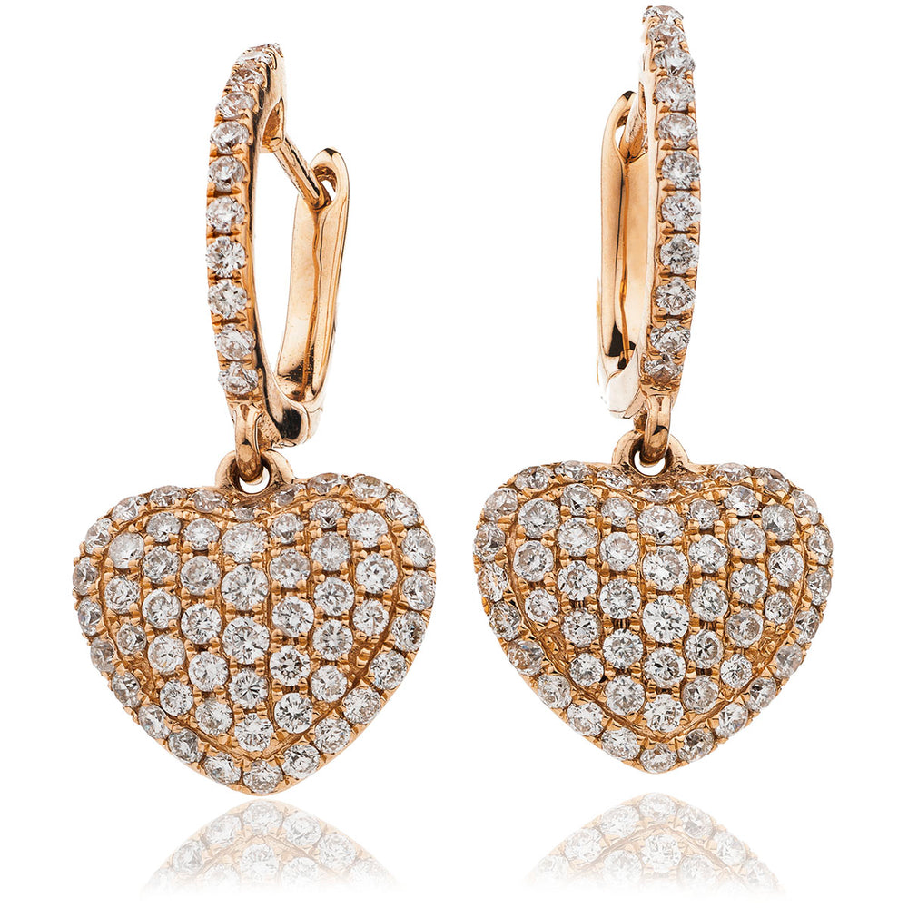 Pave Set Heart Drop Hoops 0.90ct