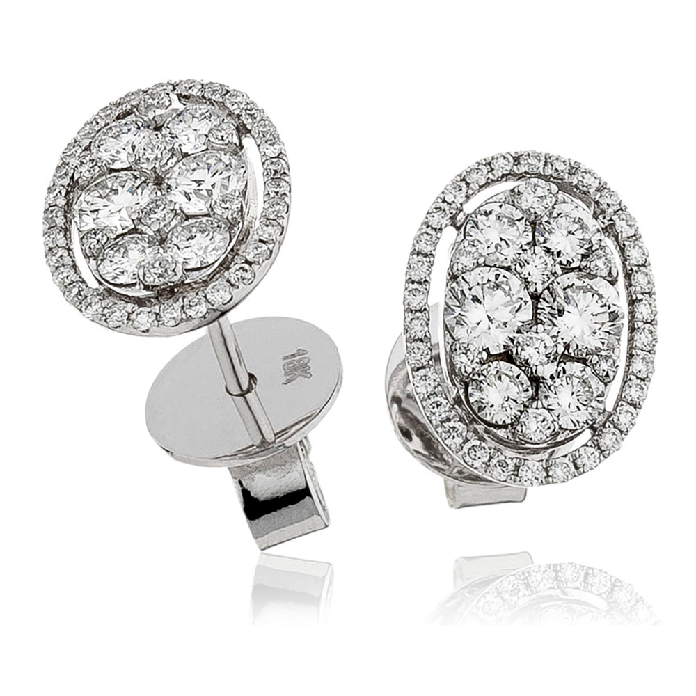 Oval Cluster halo Studs 1.00ct