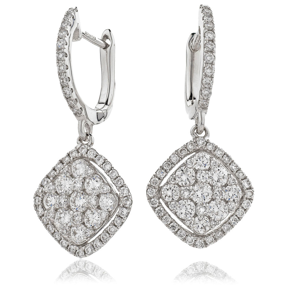 Pave Set Drop Cluster Hoops 1.15ct