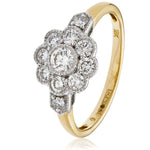 Deco Cluster Ring 0.60ct