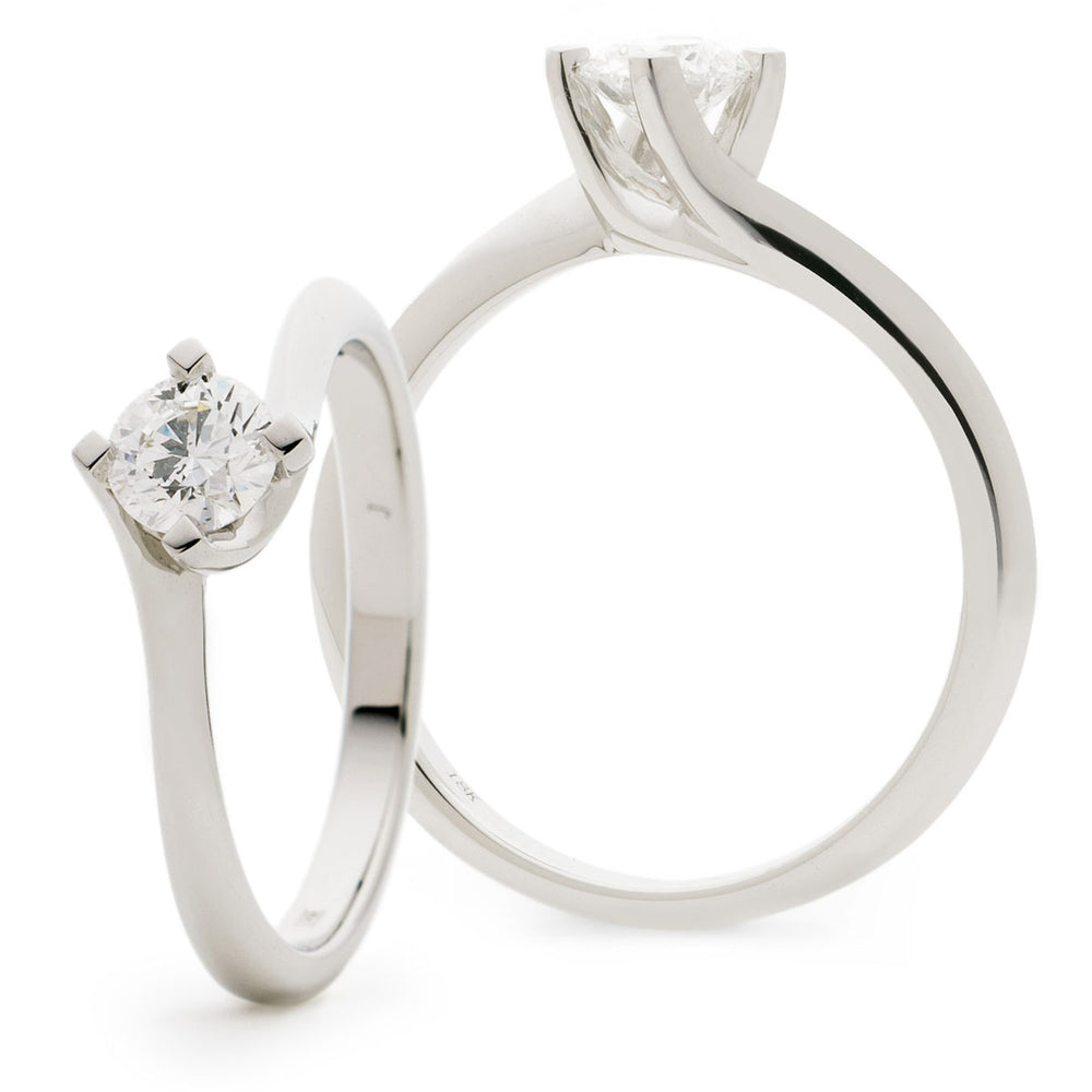 Twist Shank Solitaire Engagement Ring 0.50ct