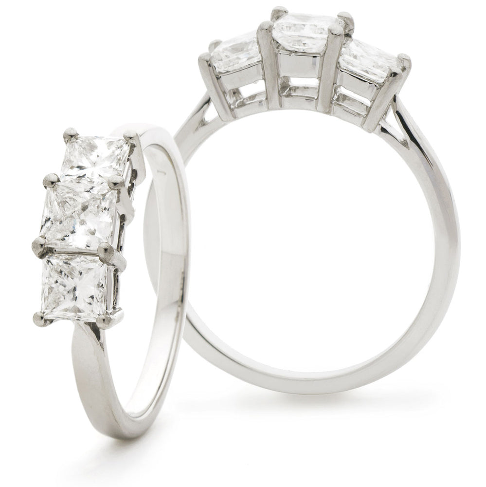 Double Gallery Three Stone Ring 0.50ct