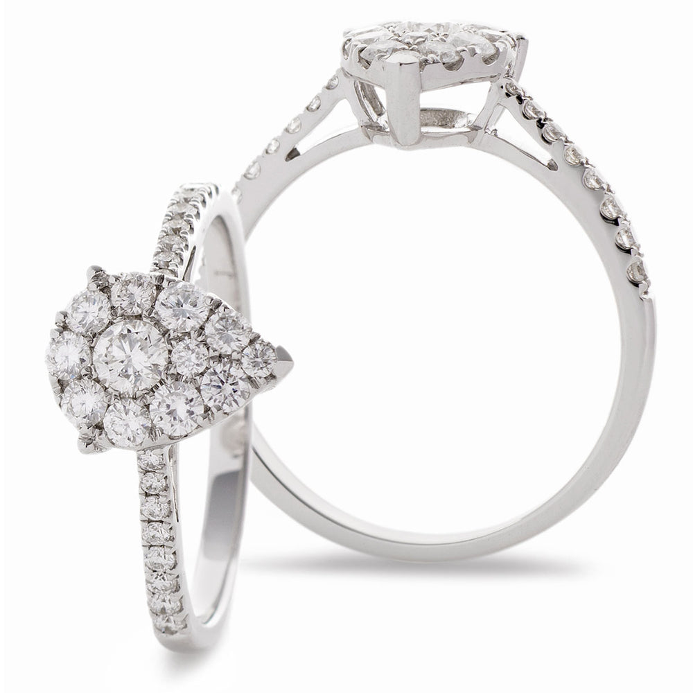 Pearshape Cluster Engagement Ring 0.33ct