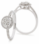 Round Halo Cluster Ring 0.50ct